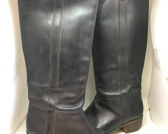 Vtg Womens's 7.5 Black Leather Riding boots Stacked Heel