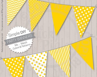 Party Banners, Yellow | Printable Party Banners, Baby Shower banners, Birthday Party banners | Instant Download