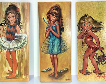 NEW vintage big eyed girl print from F.Idylle, retro children wall deco on board, 1960's.
