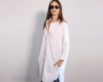 White Top, Womens Blouse, Cotton Top, Long Sleeve Top, White Blouse, White Shirt Dress, Minimalist Blouse, Oversized Tunic Dress, Office Top