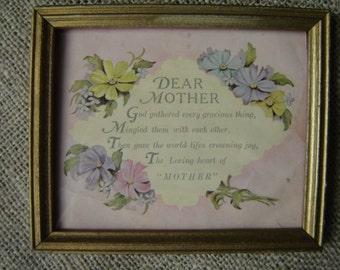 Vintage Minature Mother Motto Framed