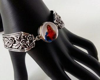 Chunk Snap Jewelry Bangles ,Virgin Mary Bracelet ,Antique Silver Tone Bracelet ,Chunk Silver Bangles Flower Bracelet,Magnetic Bracelet