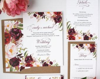 Fall Wedding Invitations - Burgundy & Blush  Wedding Invitation Suite - Rustic Burgundy Script Collection Sample Set