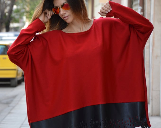 Oversized Loose Red Tunic, Maxi Blouse With Leather, Extra Long Sleeves Dress, Plus Size Top by SSDfashion