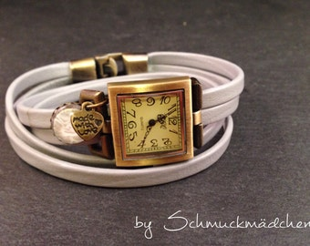 Watch bracelet bronze grey flower pendant