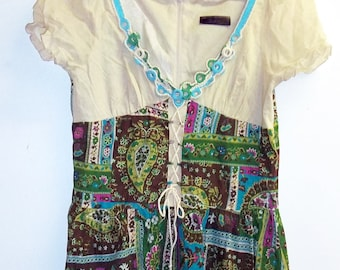 Patchwork green folk dress