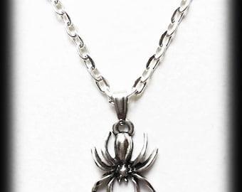 Spider Charm Necklace, Gothic Necklace, Silver Spider Pendant, Alternative Jewelry, Handmade Necklace, Halloween Jewelry, Gothic Jewelry