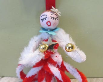 Vintage Christmas Retro style spun cotton head angel ornament with red and white accents holiday decor OOAK