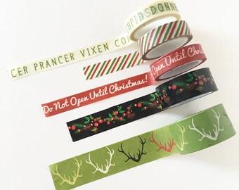 Christmas Tape, Set of 5 Christmas Tape, Gift Decor, DIY Christmas Wrapping, Decorative Tape, Christmas Gift Decor