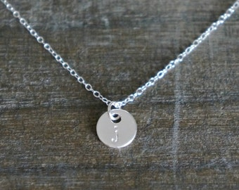 Initial Disc Necklace // Sterling Silver Necklace with Small ( 8mm ) Personalized Disk Charm / Simple and Modern • Gift for Her