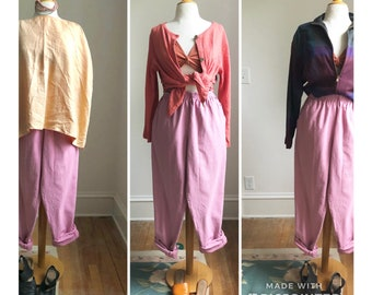 Orchid pink elastic waist cotton canvas pant with pockets