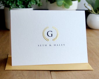 personalized wreath gold foil notecard real gold foil and embossed personalized note cards set - Personalized Embossed Note Cards