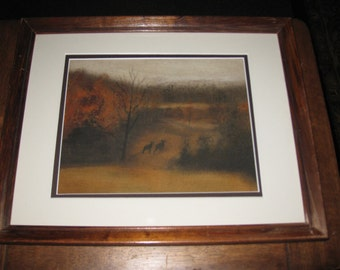 """VINTAGE PASTEL DRAWING Two Bears In Woods On A Thick Rubberized Material Matted In Off White Brown Border Dark Wood Frame 15 1/4"""" x 12 1/4"""""""