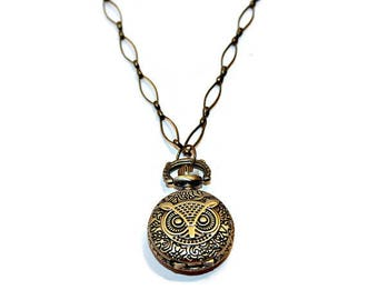 Necklace Watch, Pocket Watch Necklace, Owl Necklace, Locket Watch