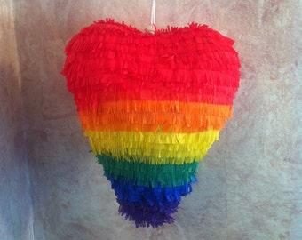 "10-12"" Mini Rainbow Heart Pinata - Manny's Mini Pinata - Rainbow Pinata - Rainbow Decoration  MADE TO ORDER"