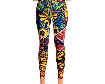 Black Leggings / Digital Print Leggings / Leggings for Women / Modern Print Leggings / colorful Design Leggings / Yoga Leggings,