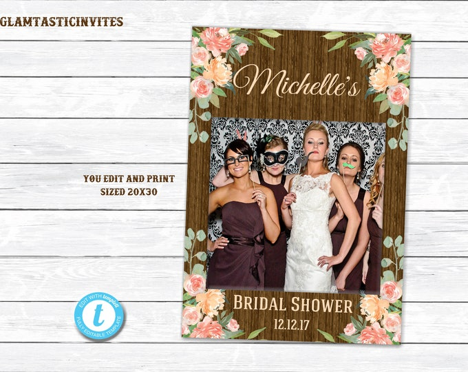 Floral Rustic Photo Booth Frame, You Print, Printable Photo Booth Frame, Rustic Wedding, Rustic Decor, Shower Photo Frame, Photo Booth Frame