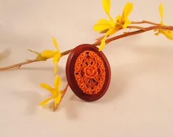 Vintage Carved Celluloid Rose & Wood Brooch, Coral Color Flower Design