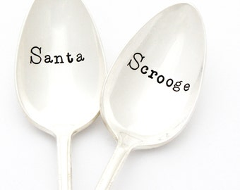 Santa and Scrooge. Christmas gift, Hand stamped coffee spoons for naughty and nice couples gift idea. Christmas table decor.