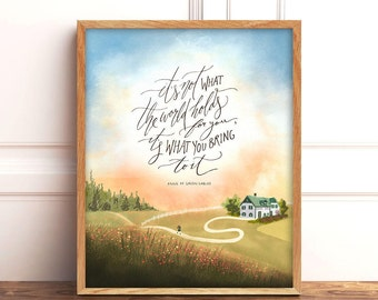 Anne of Green Gables Art Print, Anne Shirley Quote, Book Lover Gift, LM Montgomery Quote, Green Gables Quote, 8x10 Handlettering Wall Art