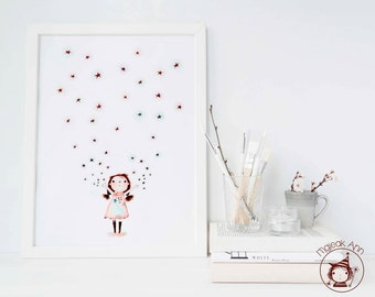 Starlight - Poster Size - Girl and Stars - Twinkle Twinkle- Nursery Decor wall art -Baby girl decor - magical baby girl illustration
