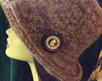 Brown tweed felt hat