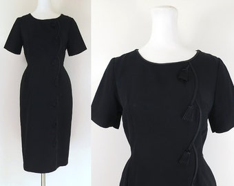 50s dress / 50s black wiggle dress with satin tassle detail / vintage 50s classic lbd / 50s little black dress / Lenoir Original / sz medium