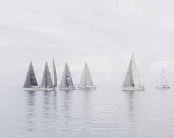 Sailing in fog - photo fine art photography print wall art decor