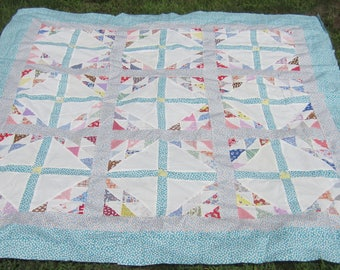 """SALE - Just Adorable! Vintage Retro Geese in Flight Quilt TOP 75"""""""