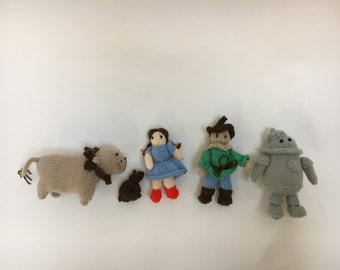 Set of knitted Wizard of Oz characters