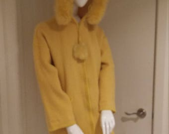1990s Yellow Wool La Parka Coat by Linda Lundstrom Polar Bear Applique on Back with Nylon Outer Raincoat Size Small 2 Pieces Made in Canada
