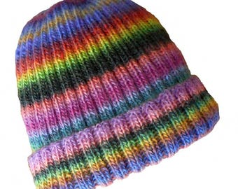 Multicolor baby hat, wool soft, sides, size 12-18 months