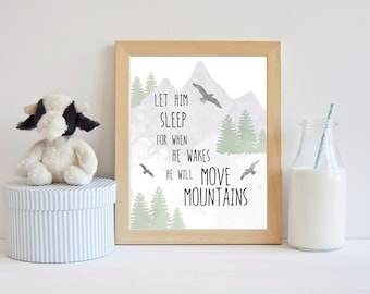 Boy Nursery Art, Let Him Sleep, He Will Move Mountains, Adventure Nursery, Wilderness Nursery Art, Wilderness Nursery Decor Explorer Nursery