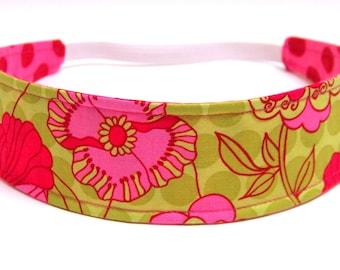Floral Headband for Girls, Child's, Children's, Fuschia Pink, Lime Green, Polka Dots, Reversible Fabric Headband  -  PETUNIA