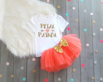Girls Petal Patrol Outfit Girls Wedding Rehearsal Outfit Petal Patrol Outfit Wedding Day Tutu Flower Girl Outfit Flower Girl Gift Coral