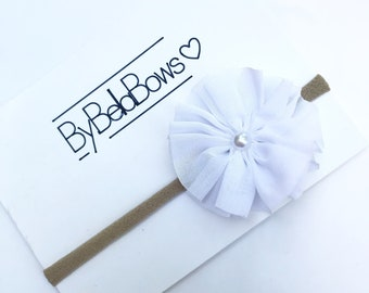 White flower headband , baby girl , flower headband, headbands