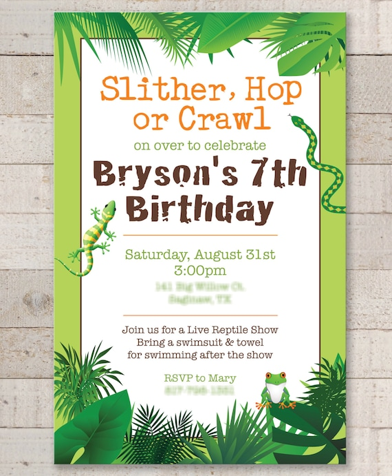 Reptile Birthday Invitations Safari Jungle Bugs Insects