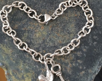 Silver Heart Key Bracelet - Key to My Heart no.1