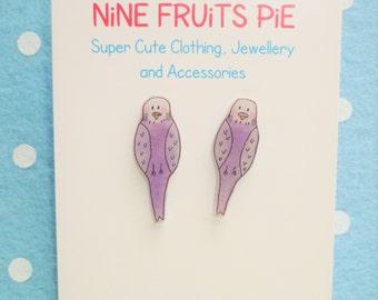 Tweet tweet, how sweet? Mini lilac budgie stud earrings