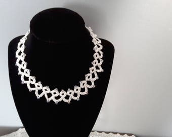 16 inch tatted necklace, decorated with clear beads