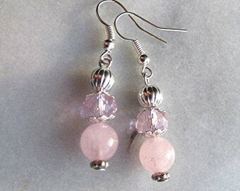 Rose quartz earrings dangle earrings beaded earrings pink gemstone earrings crystal bead pink earrings silver earrings gift.