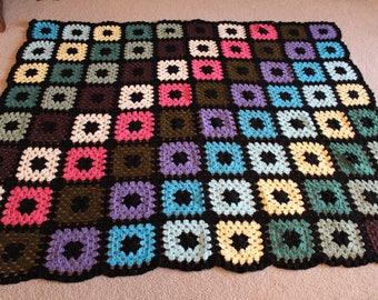 Handmade Granny Squares Crochet Blanket
