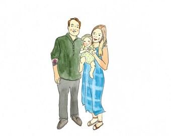 Custom family illustrated portrait