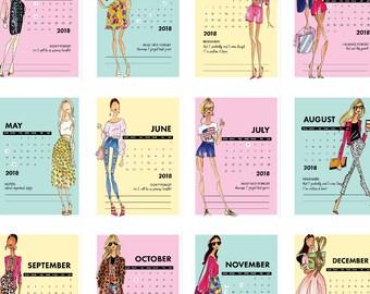 2018 Fashion Calendar, Fashion Calendar, Desk Calendar, Chic Calendar, Office calendar, Desk decor, office decor