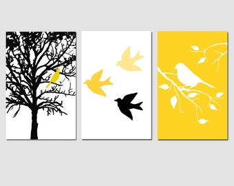 Modern Bird Tree Nursery Art Wall Decor Trio - Set of Three Prints - Choose Your Colors - Shown in Yellow, Gray, Black, White
