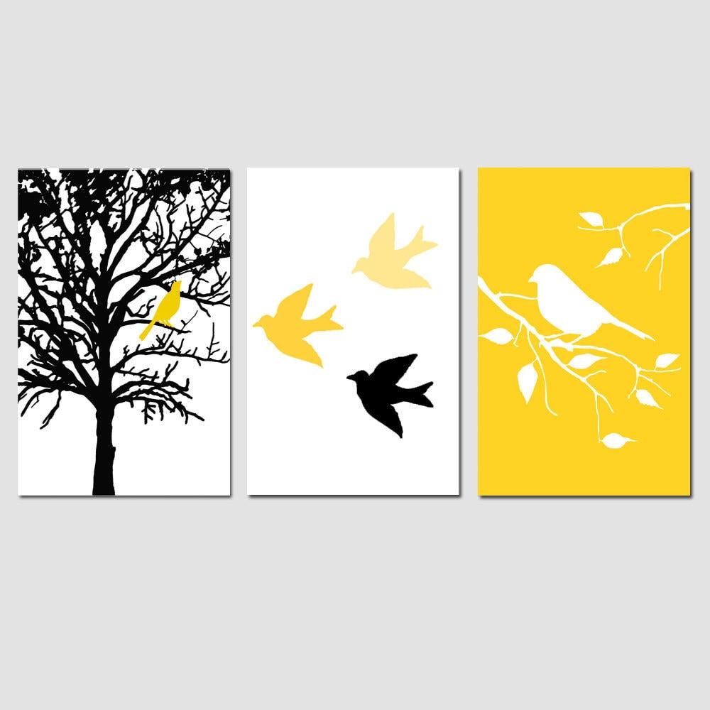 Modern Bird Tree Nursery Art Wall Decor Trio Set of Three