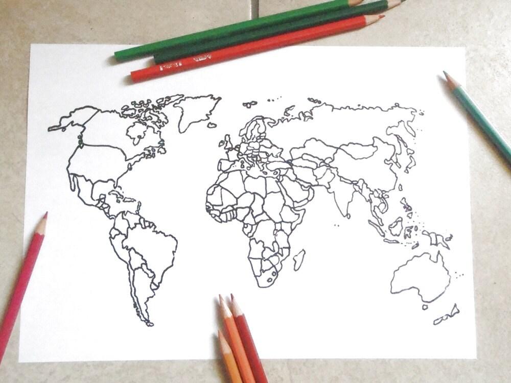 spesso mondo cartina agenda planner bianco colorare etsy vendite IC19