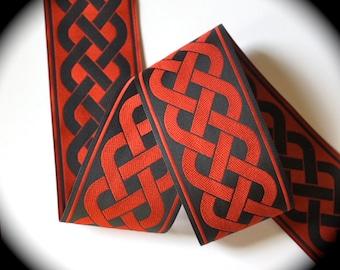 "Jacquard Ribbon - 1 7/8"" x 1 yd  Black and Red Celtic Knot (not metallic)"