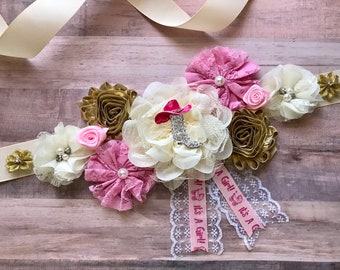 Pink and Gold Maternity Sash Cowgirl Baby Shower Pink Cowboy Boot Baby Shower Gift Baby Shower Bridal Flower Girl Sash Belly Sash