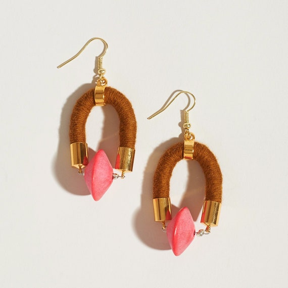 Hot Pink Saucer Bead + Textile Earrings